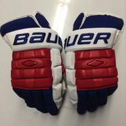 """Bauer Nexus 1000 Pro Stock Custom Hockey Gloves 15"""" NY Rangers Stepan used (5)"""