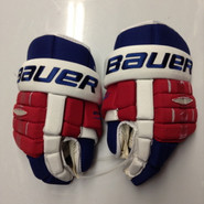 "Bauer BHPRO  Pro Stock Custom Hockey Gloves 15"" NY Rangers used"