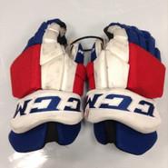 "CCM HGTKPP Pro Stock Custom Hockey Gloves 14"" NY Rangers NHL #22 used"