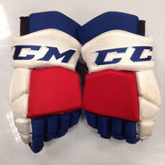 "CCM HGTKPP Pro Stock Custom Hockey Gloves 14"" NY Rangers NHL #8 used"