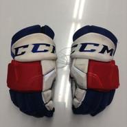 "CCM HGQL Pro Stock Custom Hockey Gloves 14"" NY Rangers NHL #37 used"