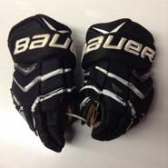 "Bauer Supreme Totalone NXG Pro Custom Pro Stock Hockey Gloves Used Black 14"" NHL #8"
