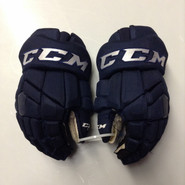 "CCM HGTK Pro Stock Custom Hockey Gloves 14"" AHL Navy used #48"