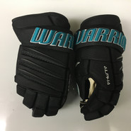"Warrior Alpha QX Pro Custom Pro Stock Hockey Gloves San Jose Sharks 14"" NHL"