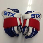 """STX Surgeon Pro Stock Custom Hockey Gloves 13"""" NY Rangers DeANGELO NHL USED (2)"""