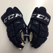 "CCM 10KN Pro Stock Custom Hockey Gloves 14"" AHL Navy used #7"