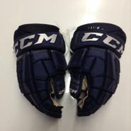 "CCM CL U+ Pro Stock Custom Hockey Gloves 14"" AHL Navy used #41"