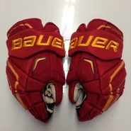 "Bauer APX2 Pro Stock Custom Hockey Gloves 15"" Ferris State Bulldogs NCAA Used"
