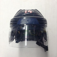 BAUER REAKT 100 PRO STOCK HOCKEY HELMET NAVY BLUE MEDIUM HARTFORD WOLF PACK #14