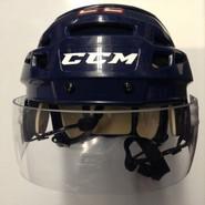 CCM VECTOR VO8 PRO STOCK HOCKEY HELMET NAVY BLUE SMALL  AHL HARTFORD WOLF PACK #22