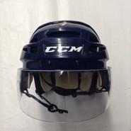 CCM VECTOR VO8 PRO STOCK HOCKEY HELMET NAVY BLUE SMALL  AHL HARTFORD WOLF PACK #7