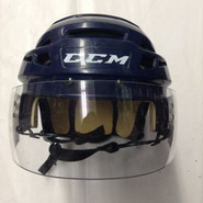 CCM VECTOR VO8 PRO STOCK HOCKEY HELMET NAVY BLUE SMALL  AHL HARTFORD WOLF PACK #4