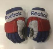 "Copy of Reebok 11KP Pro Stock Custom Hockey Gloves 14"" Hartford Wolfpack AHL used #39 (b)"