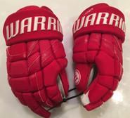 """Warrior Covert DT1 Pro Stock Custom Hockey Gloves 14"""" Abdelkader Red Wings NHL"""