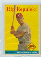 1958 Topps Baseball 14 Rip Repulski Philadelphia Phillies Excellent to Excellent Plus
