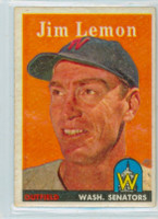 1958 Topps Baseball 15 Jim Lemon Washington Senators Excellent