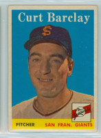 1958 Topps Baseball 21 Curt Barclay San Francisco Giants Excellent to Excellent Plus