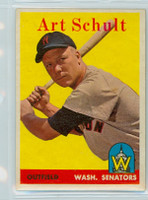 1958 Topps Baseball 58 b Art Schult Washington Senators Excellent to Mint