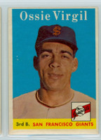 1958 Topps Baseball 107 Ossie Virgil San Francisco Giants Excellent to Mint