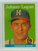 1958 Topps Baseball 110 Johnny Logan Milwaukee Braves Excellent to Mint