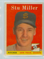 1958 Topps Baseball 111 Stu Miller San Francisco Giants Excellent to Mint