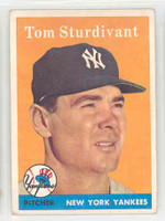 1958 Topps Baseball 127 Tom Sturdivant New York Yankees Excellent to Mint