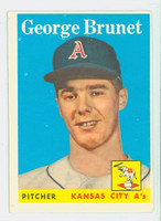 1958 Topps Baseball 139 George Brunet Kansas City Athletics Excellent