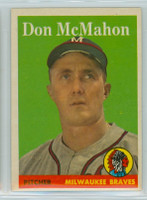 1958 Topps Baseball 147 Don McMahon ROOKIE Milwaukee Braves Excellent to Mint