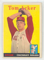 1958 Topps Baseball 149 Tom Acker Cincinnati Reds Excellent to Mint