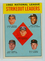 1963 Topps Baseball 9 NL Strikeout Leaders Excellent