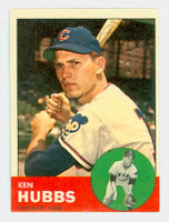 1963 Topps Baseball 15 Ken Hubbs Chicago Cubs Excellent to Excellent Plus