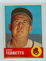 1963 Topps Baseball 48 Birdie Tebbetts Cleveland Indians Excellent to Mint