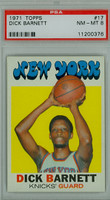 1971 Topps Basketball 17 Dick Barnett New York Knicks PSA 8 Near Mint to Mint