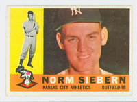 1960 Topps Baseball 11 Norm Siebern Kansas City Athletics Excellent to Excellent Plus