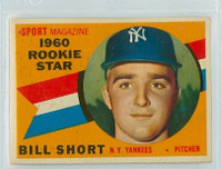 1960 Topps Baseball 142 Bill Short New York Yankees Excellent to Mint