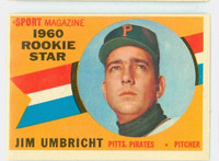 1960 Topps Baseball 145 Jim Umbricht Pittsburgh Pirates Excellent