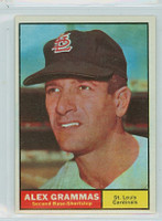 1961 Topps Baseball 64 Alex Grammas St. Louis Cardinals Near-Mint