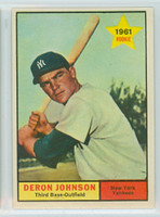 1961 Topps Baseball 68 Deron Johnson New York Yankees Excellent to Mint