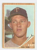 1962 Topps Baseball 21 Jim Kaat Minnesota Twins Very Good