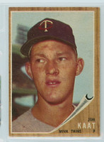 1962 Topps Baseball 21 Jim Kaat Minnesota Twins Excellent