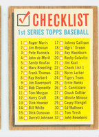 1962 Topps Baseball 22 Checklist One BACK 121-176  Very Good to Excellent