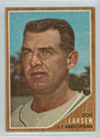 1962 Topps Baseball 33 Don Larsen San Francisco Giants Excellent to Excellent Plus