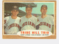 1962 Topps Baseball 37 Tribe Hill Trio Cleveland Indians Very Good to Excellent