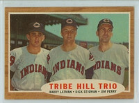 1962 Topps Baseball 37 Tribe Hill Trio Cleveland Indians Excellent to Excellent Plus