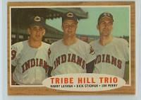 1962 Topps Baseball 37 Tribe Hill Trio Cleveland Indians Excellent to Mint