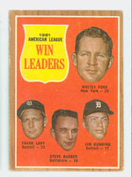 1962 Topps Baseball 57 AL Pitching Ldrs Good to Very Good