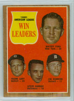 1962 Topps Baseball 57 AL Pitching Ldrs Excellent to Excellent Plus