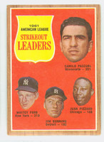 1962 Topps Baseball 59 AL Strikeout Ldrs Excellent