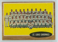 1962 Topps Baseball 61 Cardinals Team Excellent to Mint