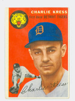 1954 Topps Baseball 219 Charlie Kress Detroit Tigers Very Good